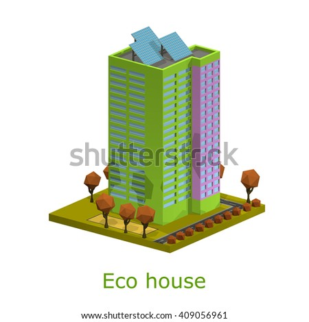 Polygon isometric multi-storey building. Residential house on a white background.  Vector illustration of an apartment building with trees, shrubs, highway. Icon isometric house with solar panels - stock vector