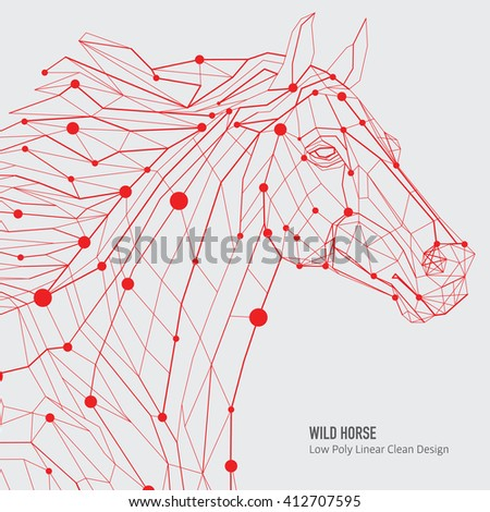 Polygon outline illustration of a horse head, geometrical triangles, low poly wire construction concept, linear connection