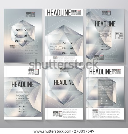 Polygon pattern with the reflection, minimalistic geometric facet crystal on blurred background. Brochure, flyer or report for vector business templates. - stock vector