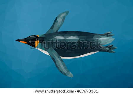 Polygon penguin swimming underwater. Low poly design. Abstract polygonal background. - stock vector