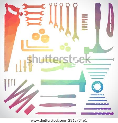 Polygon set of tools, illustration - stock vector