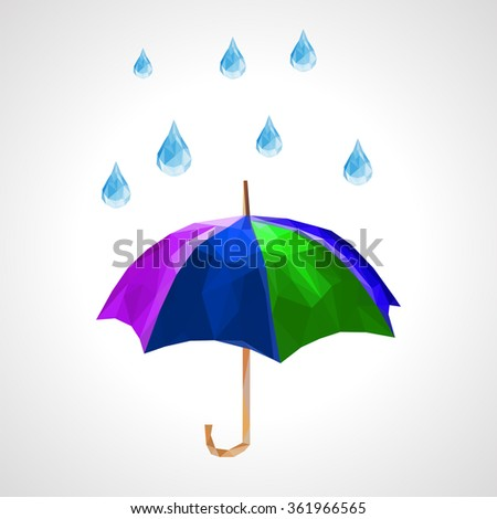 polygon set of umbrella and rain drops for weather forecast green - stock vector