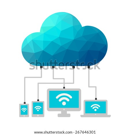 "polygon shape Cloud connected to responsive devices. Cloud computing concept design. Devices connected to the ""cloud"". - stock vector"