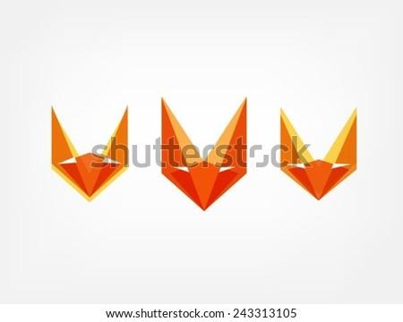 Polygon Style Fox Head  For icon or logo design - stock vector