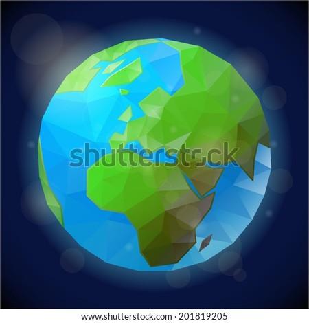 Polygon style world globe - stock vector