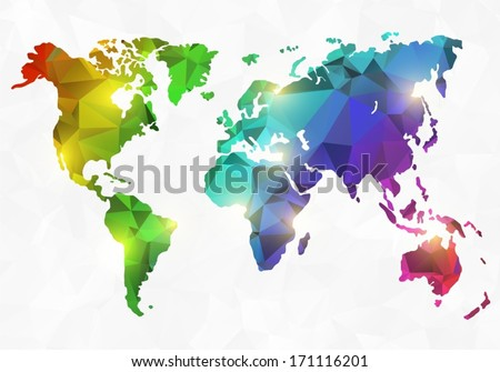 Polygon style world map - stock vector