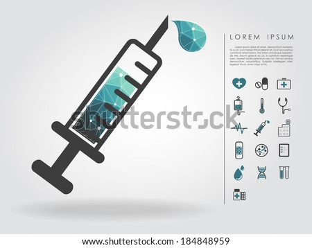 polygon syringe with hospital icon vector - stock vector