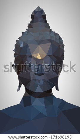 Polygon Vector of Buddha Head  - stock vector