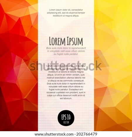 Polygonal abstract background for business blank, card, flyer, banner, invitation, brochure cover multicolored design template. - stock vector