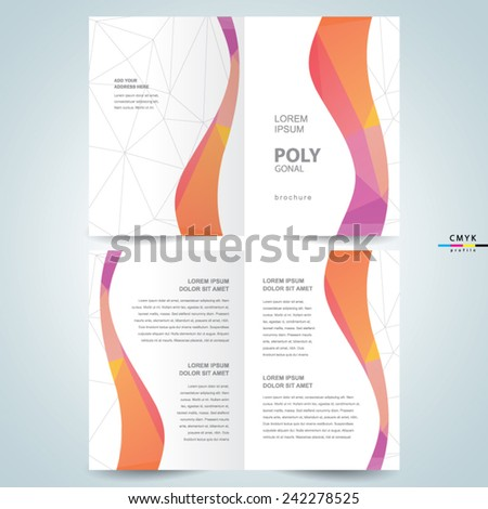 polygonal abstract curves brochure design template booklet, color cmyk - stock vector