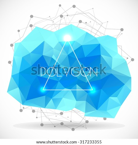 Polygonal abstract cyan shape. Concept of futuristic minimalism style Isolated on white background. Vector illustration.