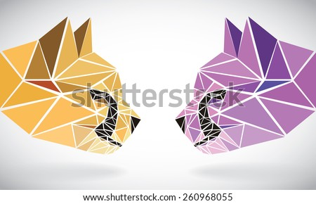 polygonal abstract geometric triangle cheetah. low poly color heads. - stock vector