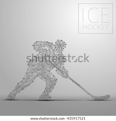 Polygonal abstract ice hockey player. Hockey players from futuristic shape. Thin line cybernetic style of sportsmens silhouette. Body energy low poly sports man in motion. Vector illustration - stock vector