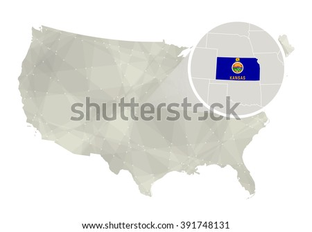 Polygonal abstract USA map with magnified Kansas state. Kansas state map and flag. US and Kansas vector map. Vector Illustration. - stock vector