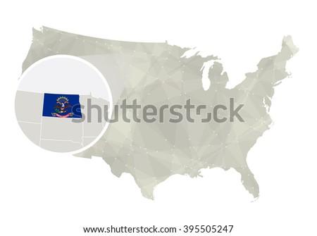 Polygonal Abstract Usa Map Magnified North Stock Vector - North dakota on us map