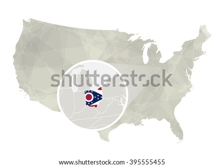 Polygonal Abstract Usa Map Magnified North Stock Vector - Us map ohio state