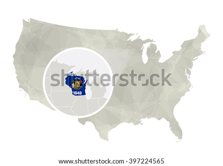 Usa Map Magnified Wisconsin State Wisconsin Stock Vector - Us map wisconsin state