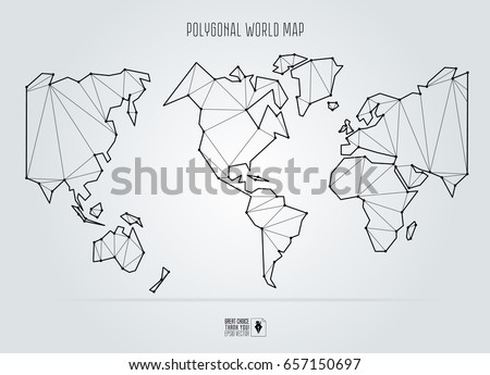 Polygonal Abstract World Map Usa Center Stock Vector - Usa world map