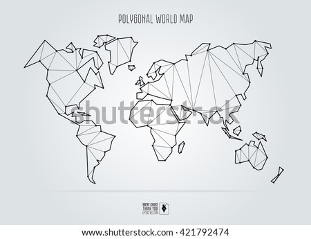 polygonal abstract world map vector illustration