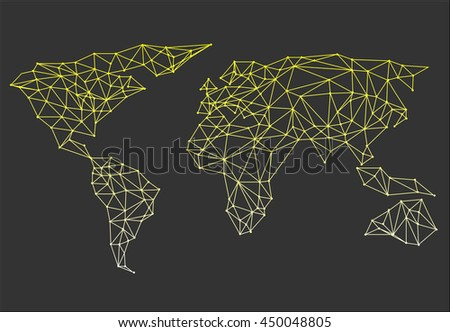 Triangle world map vector net triangles vectores en stock 468540989 polygonal abstract world map vector illustration gumiabroncs Image collections