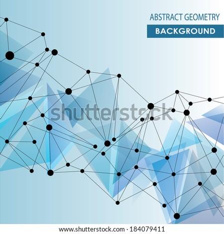 Polygonal  blue background. Abstract molecular connection vector concept - stock vector