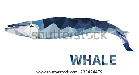 Polygonal blue sea whale. Isolated on white background. Vector illustration - stock vector