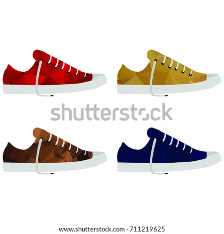Polygonal colored sport shoes. Geometric sneakers
