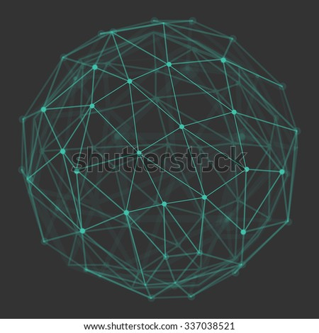 Polygonal 3d vector globe with connecting dots and lines. Low poly abstract background. Design element for futuristic designs, communication and connection related  backgrounds. - stock vector