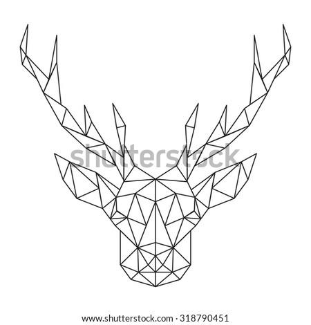 Polygonal Deer head - stock vector