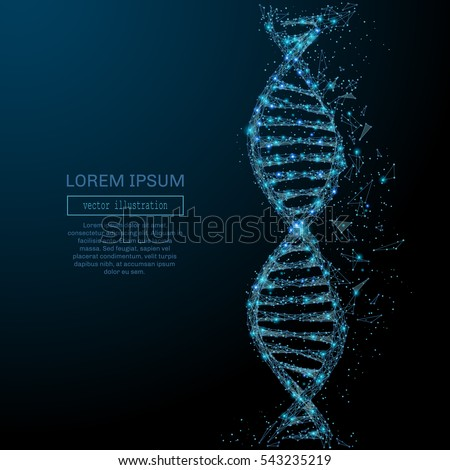 Polygonal DNA concept. Vector mesh spheres from flying debris. Thin line concept. Blue structure style illustration