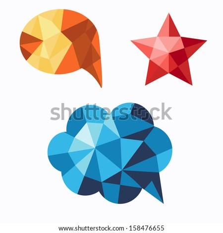 Polygonal geometric figures. Set of design elements - stock vector