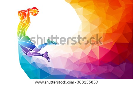 Polygonal geometric professional basketball player on colorful low poly background doing jump shot with space for text. Slam dunk vector illustration - stock vector