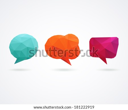 Polygonal geometric, vector 3D speech bubbles set - stock vector