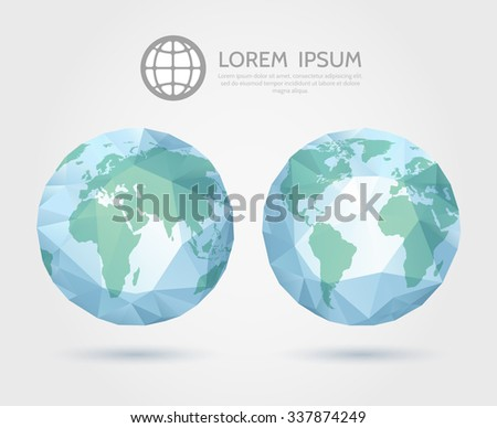 Polygonal globe. 3D triangular World map of Earth. International triangular, geometrical geography, vector illustration - stock vector