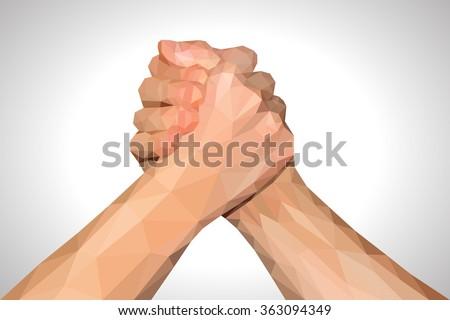 polygonal hand handshake friendly arm wrestling fist up on white - stock vector