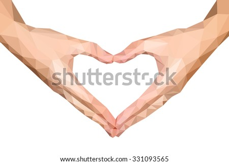 polygonal hands folded heart empty isolated