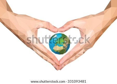 polygonal hands folded heart isolated Earth in Europe