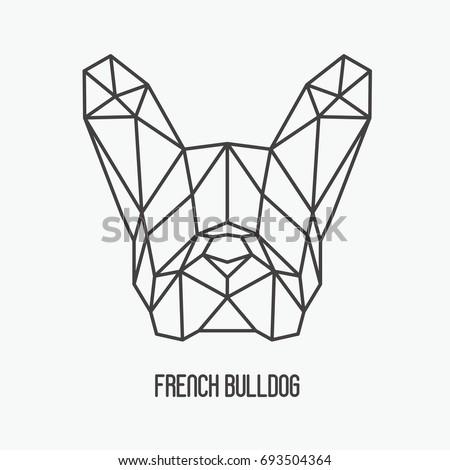 Polygonal Head French Bulldog Symbol 2018 Stockvector Rechtenvrij