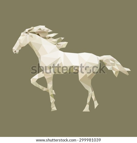 polygonal horse, polygon isolated animal, vector illustration