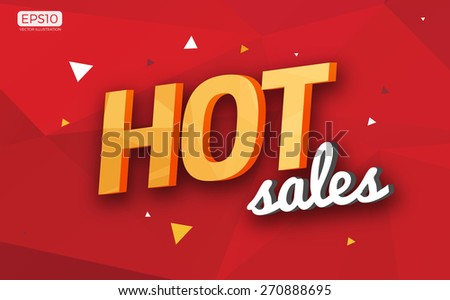 Polygonal Hot Sales Sign Icon Vector Illustration - stock vector