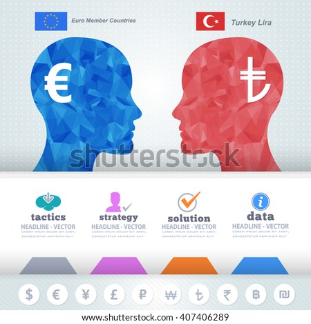 Polygonal Human Heads Finance Thinking Infographics Elements, Turkey Lira and Euro - stock vector