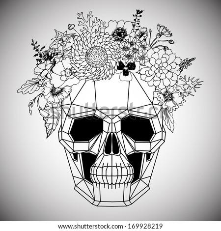 Polygonal human skull and flower wreath. Los muertos. Vector illustration. - stock vector