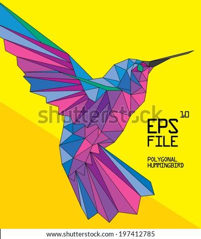 polygonal hummingbird illustration - stock vector