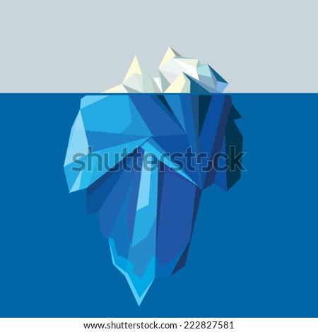 polygonal iceberg glacier landscape vector illustration- low poly style - stock vector