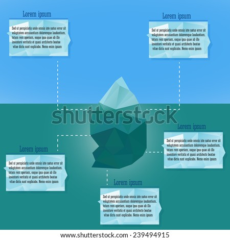 Polygonal iceberg infographics.  Vector illustration- low poly style. Triangle design. Winter theme. - stock vector