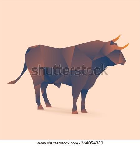 polygonal illustration of bull - stock vector