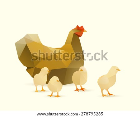 polygonal illustration of chicken witch chicks - stock vector