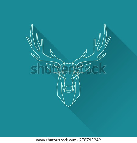 polygonal illustration of deer, wire frame invert - stock vector