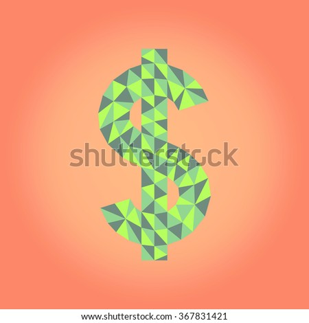 Polygonal illustration: vector low poly dollar sign - stock vector