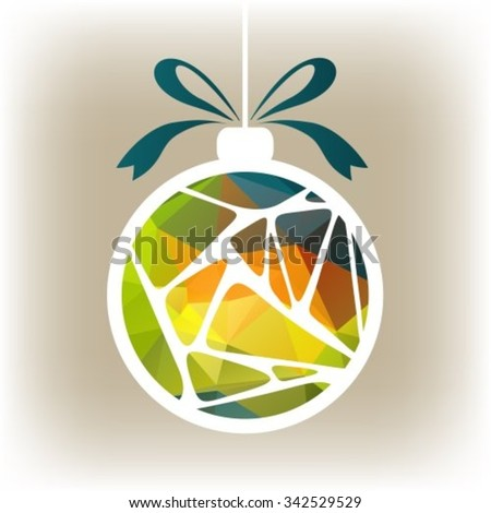 Polygonal isolated Christmas ball with yellow and blue striped elements. - stock vector